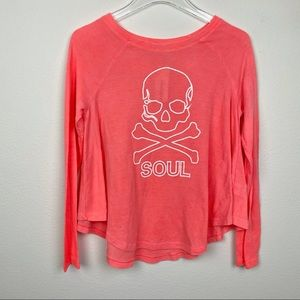 SOULCYCLE Skull Rosie Long Sleeve Thermal Coral XS